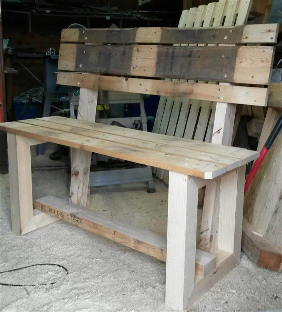rustic inspired wooden pallet bench pallet furniture diy. Black Bedroom Furniture Sets. Home Design Ideas