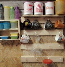 recycled pallet coffee mug rack