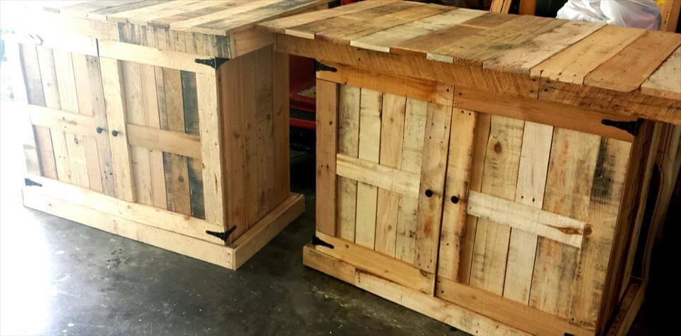 2 Pallet Kitchen Island Table Pallet Furniture Diy