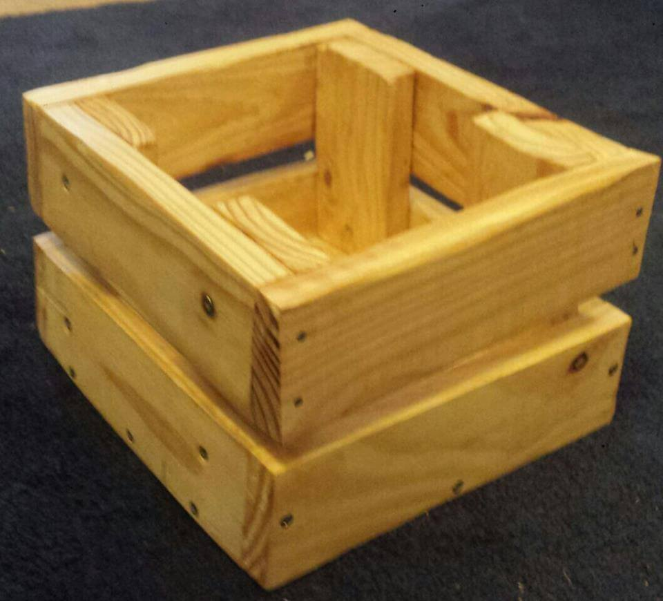 Repurposed Recycled pallet square crate box