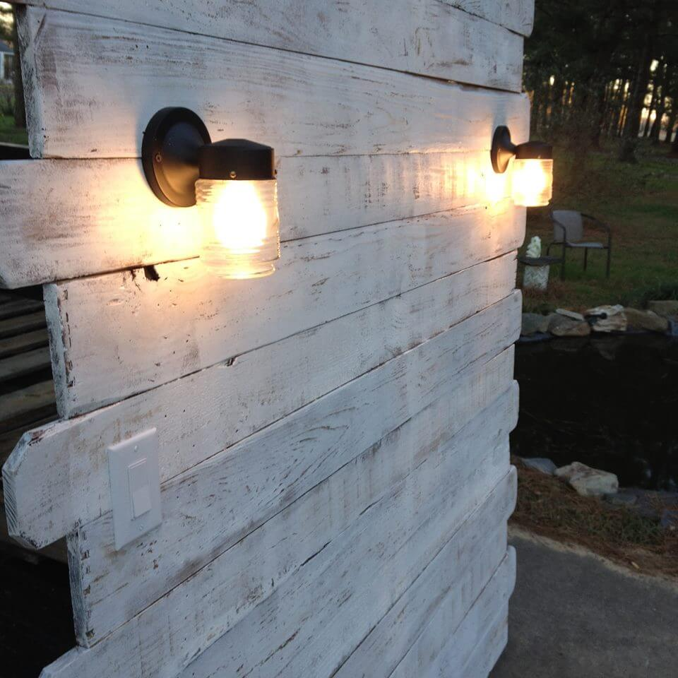 rustic white pallet headboard with lights