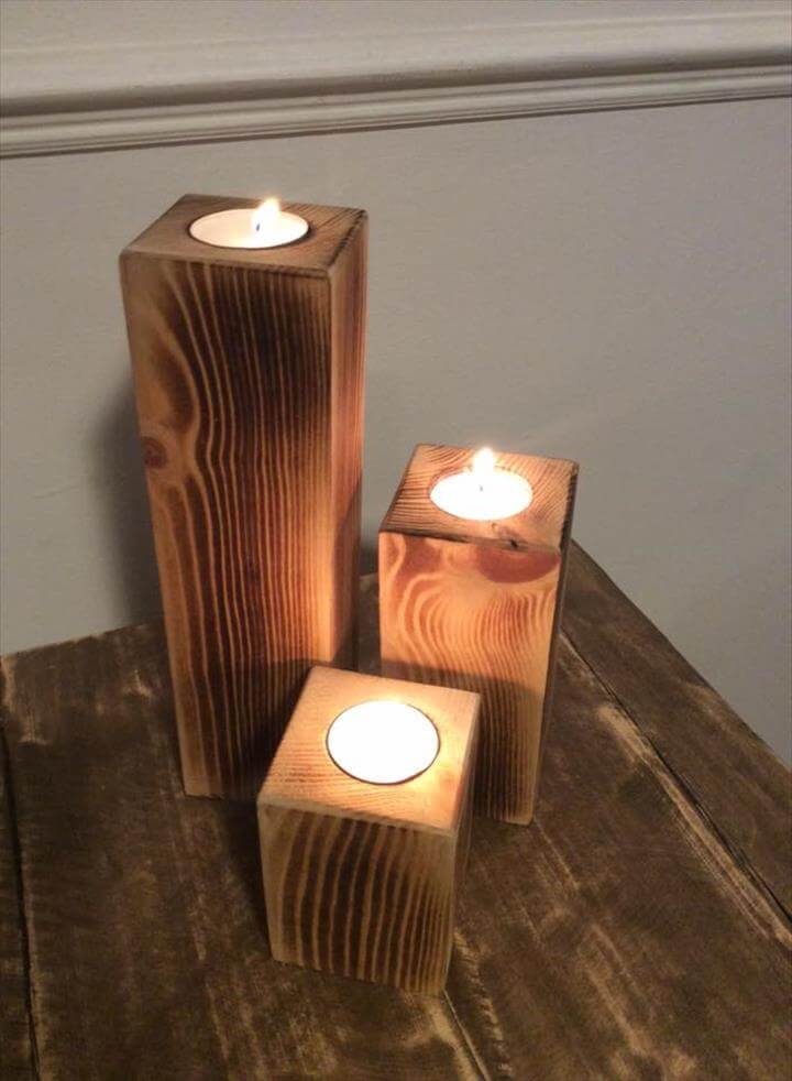 Recycled pallet candle holders