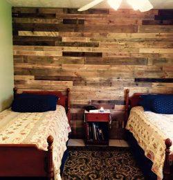 handcrafted wooden pallet headboard wall