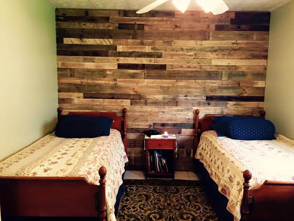 handcrafted wooden pallet headboard wall