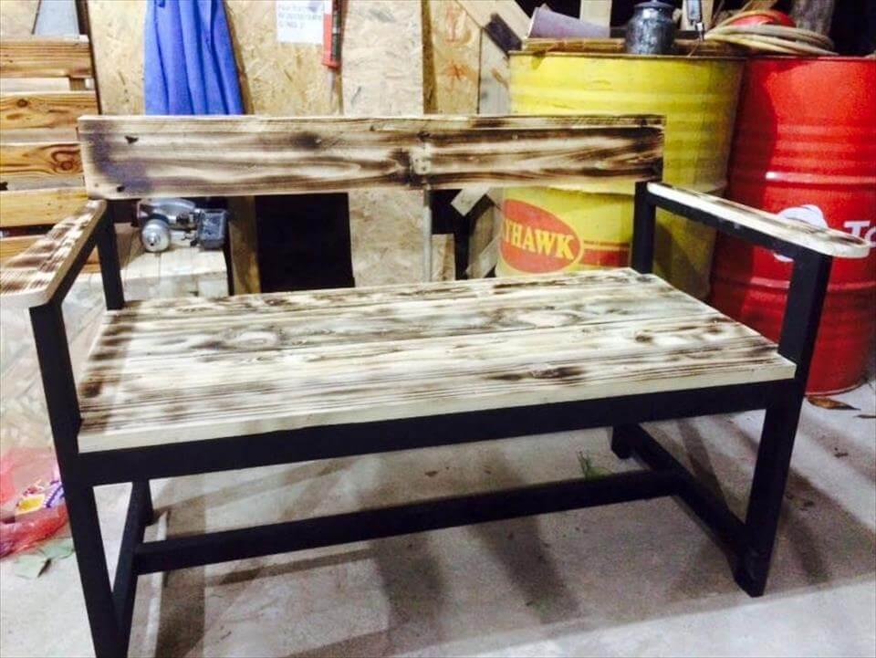 diy wide wooden pallet bench