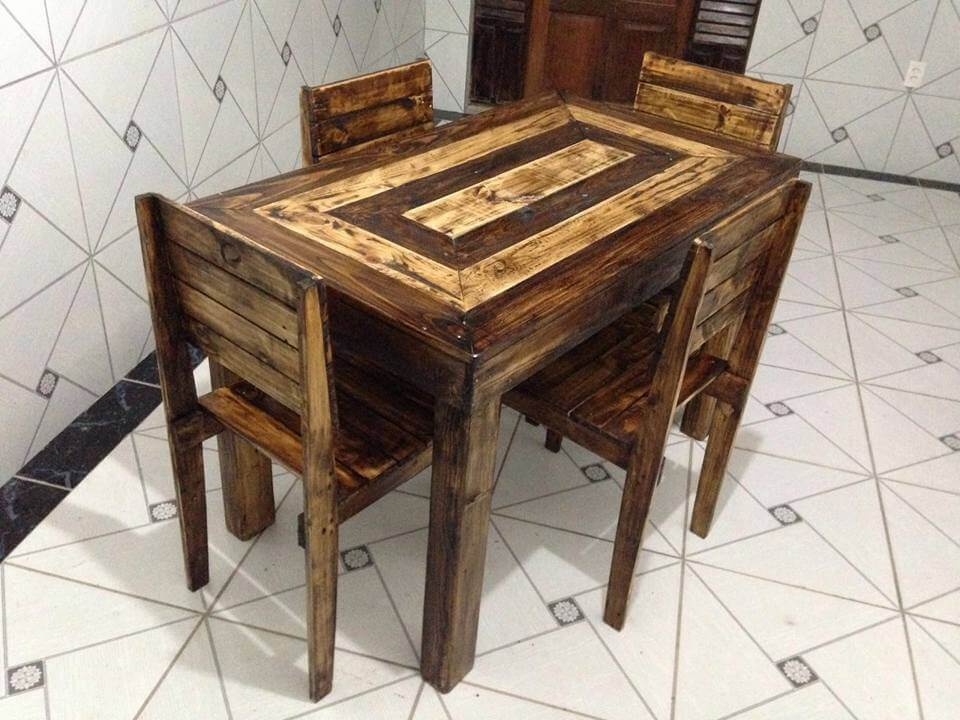 recycled pallet 4 people dining set