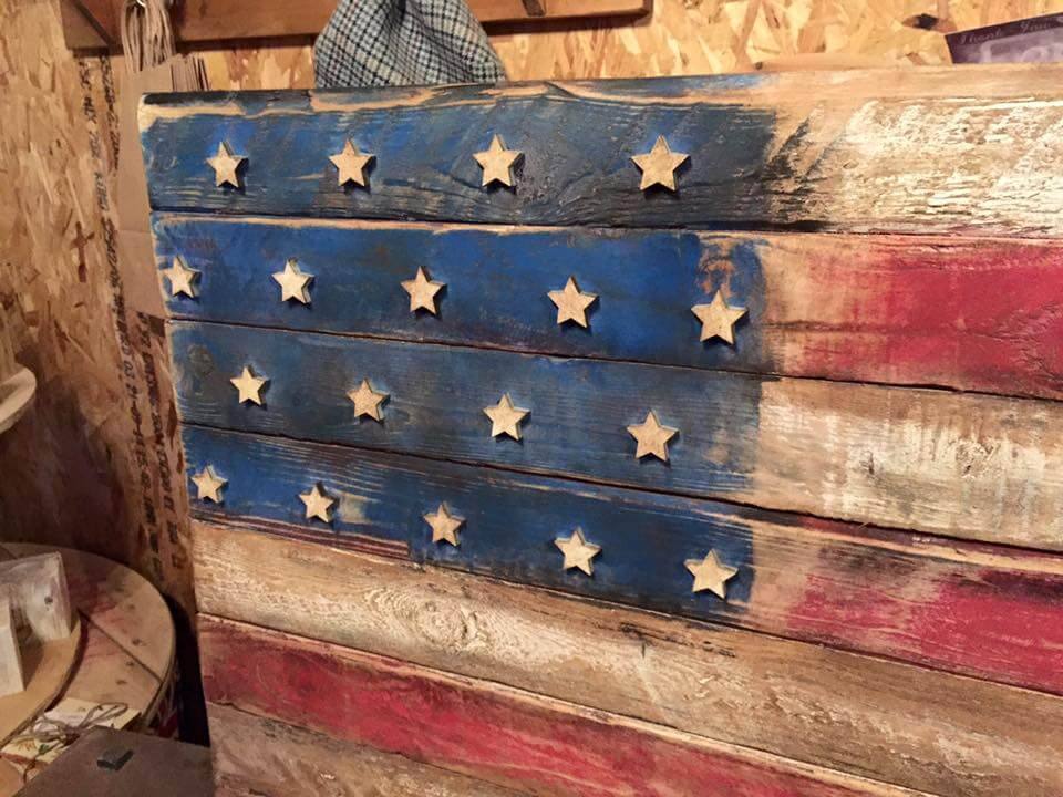 Wooden pallet rustic flag
