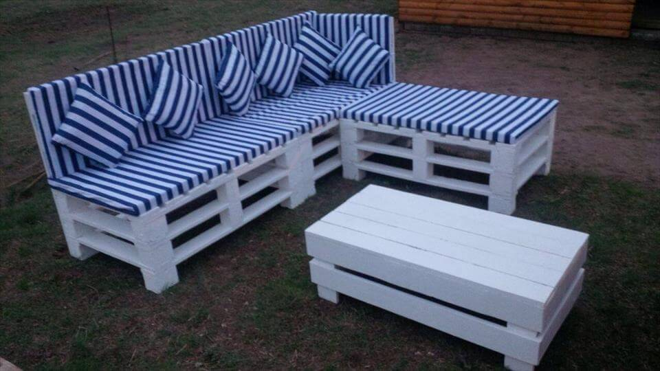 recycled pallet sectional sofa set