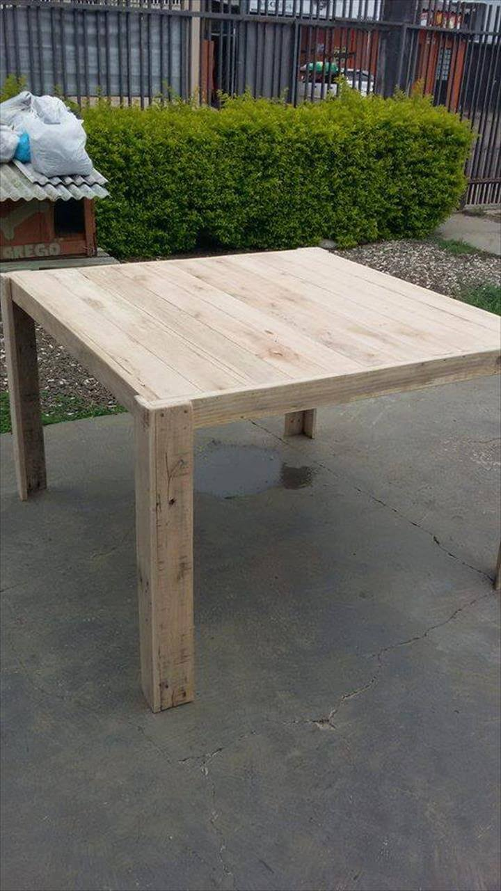 upcycled wooden pallet square top table