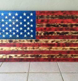 recycled pallet American flag wall art
