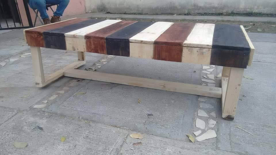 recycled pallet painted outdoor bench