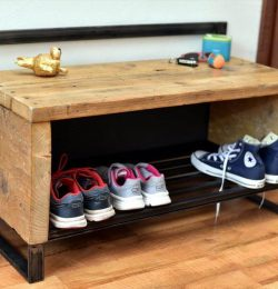 recycled pallet and metal scrap shoes rack