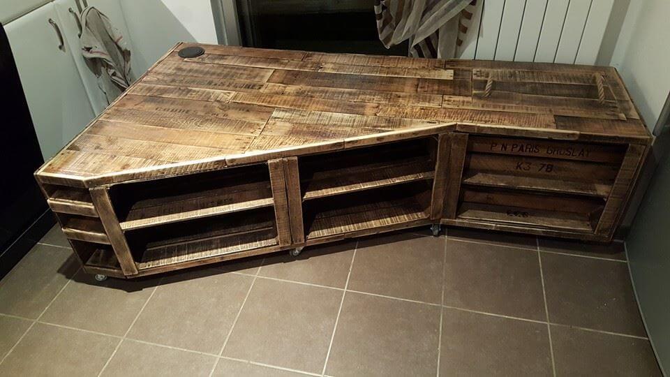 handmade wooden pallet TV console