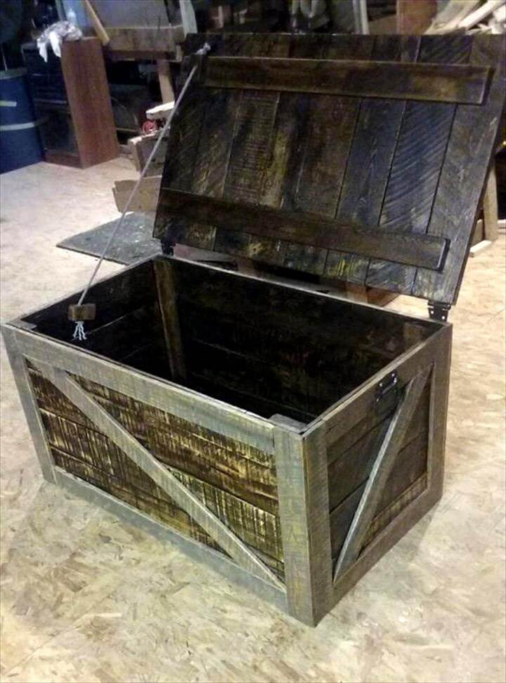 Pallet trunk toy box storage chest pallet furniture diy for Storage box made from pallets