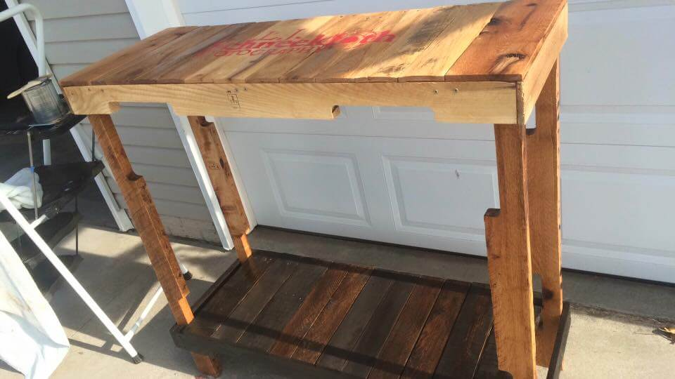 high top wooden pallet console