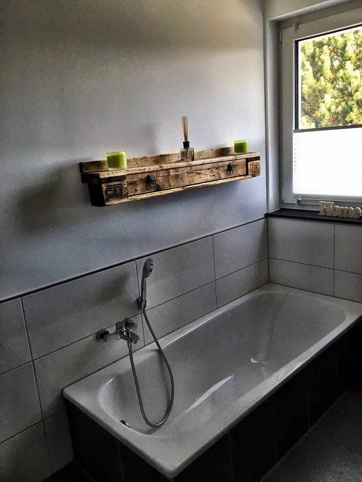 wooden pallet bathroom shelf
