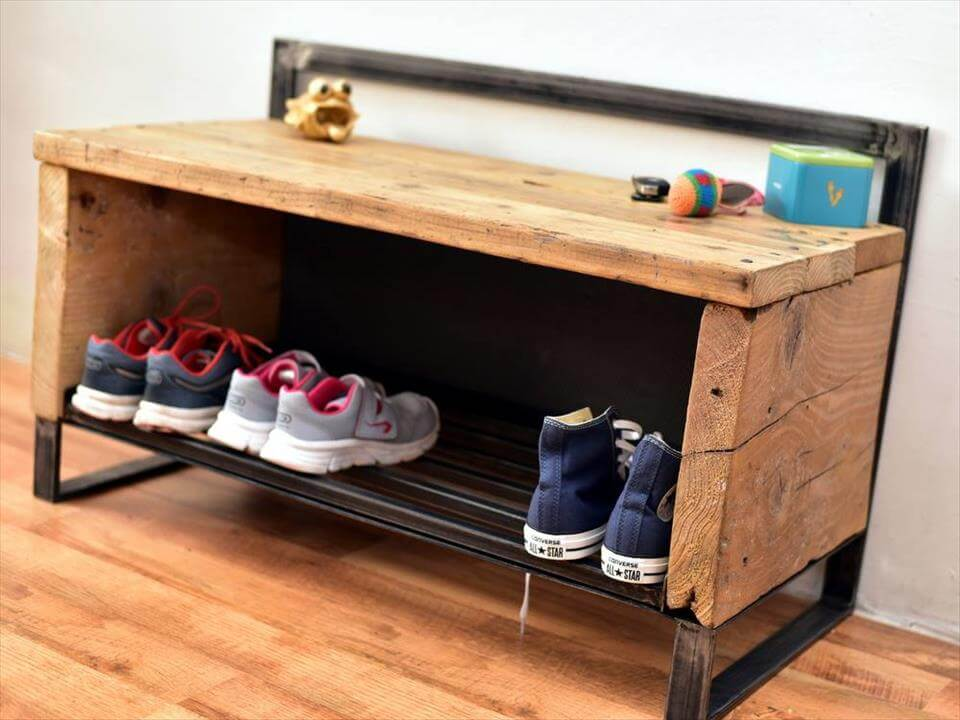 super stable pallet and metal shoes rack