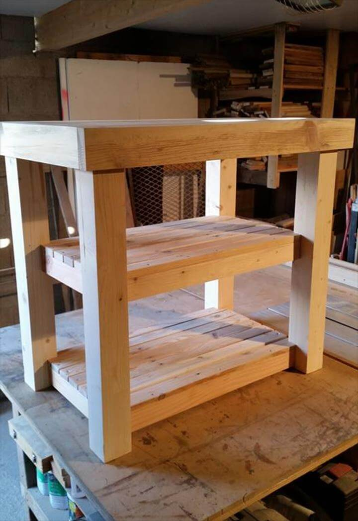 upcycled wooden pallet kitchen island