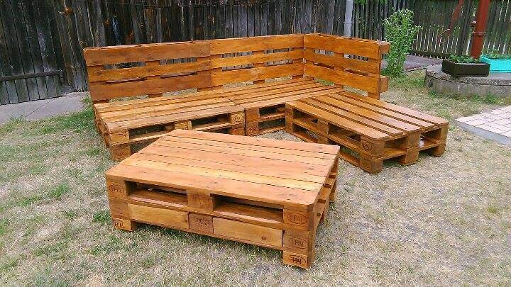 diy pallet sectional sofa with coffee table