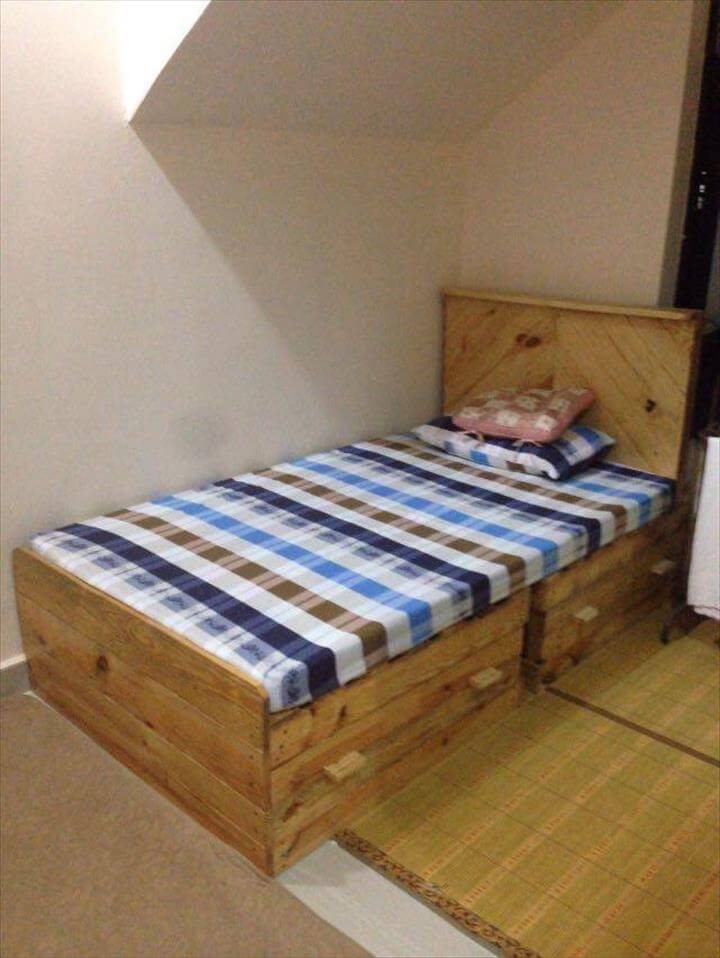 recycled pallet toddler bed with drawers