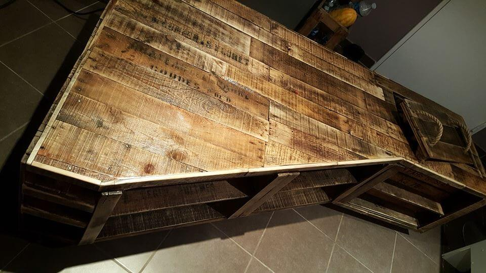 upcycled wooden pallet corner TV stand
