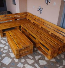 reclaimed pallet L-shape sofa set