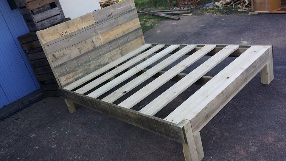 Wooden pallet bed frame