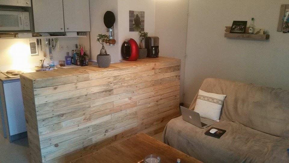 Custom built pallet kitchen counter pallet furniture diy for Custom made kitchen countertops