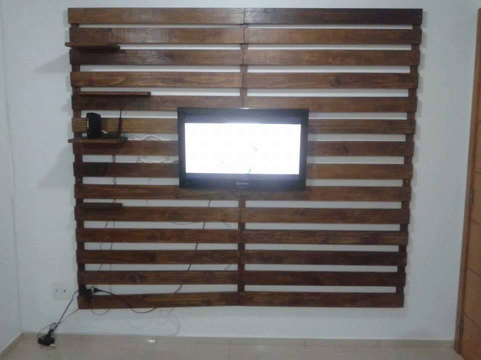 Recycled pallet media wall