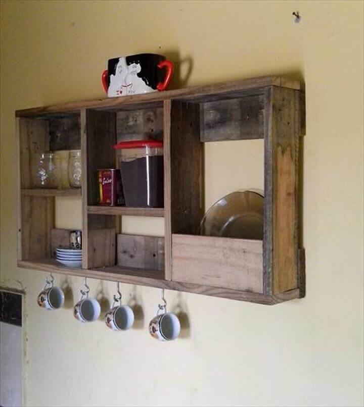 repurposed pallet tea rack