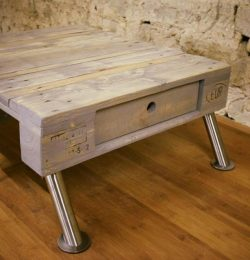 recycled pallet vintage coffee table with metal legs