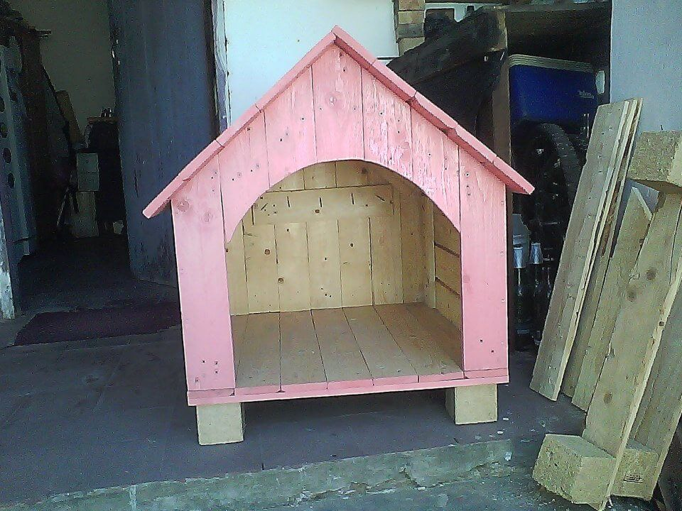wooden pallet pink painted doghouse
