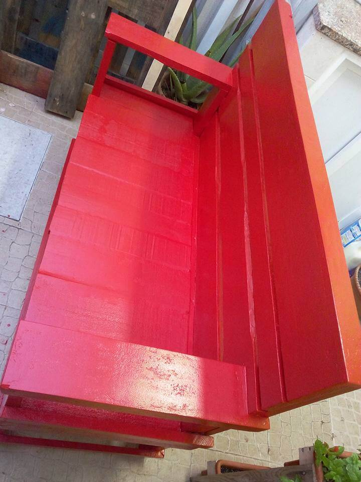 wooden pallet red painted bench