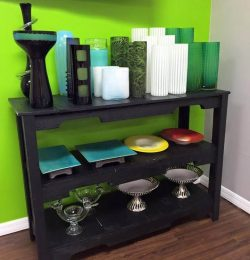 handcrafted black pallet console