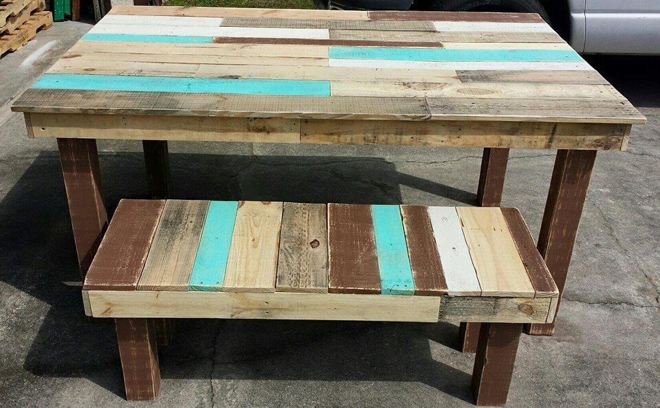diy wooden pallet dining table and bench