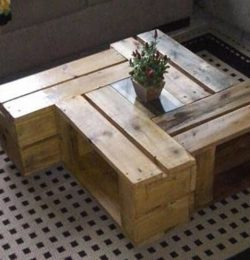 low-cost rustic pallet pinwheel style coffee table