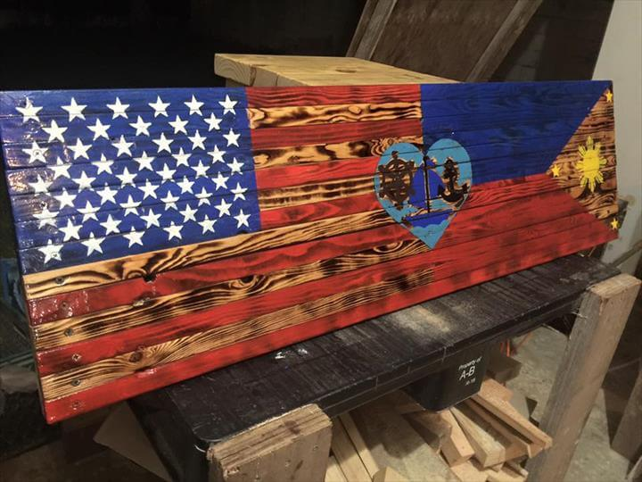 Recycled pallet flag