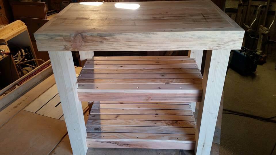 custom-built pallet kitchen island