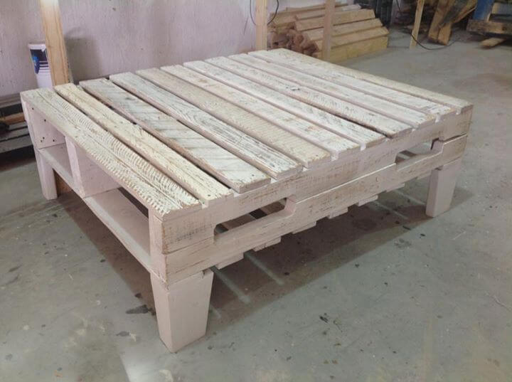 wooden large square shaped pallet coffee table
