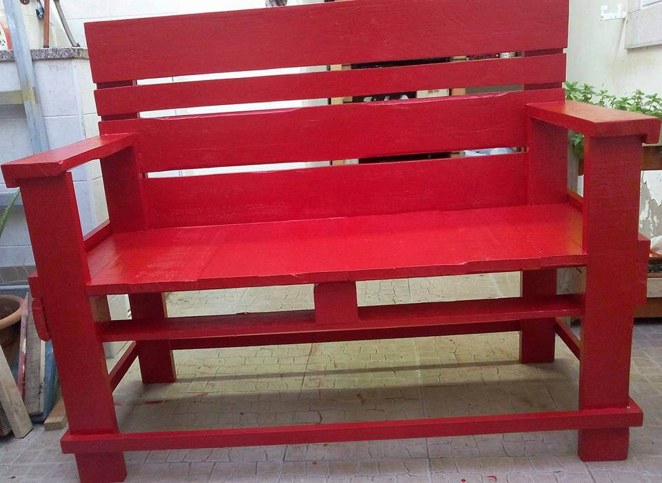 diy wooden pallet red painted bench
