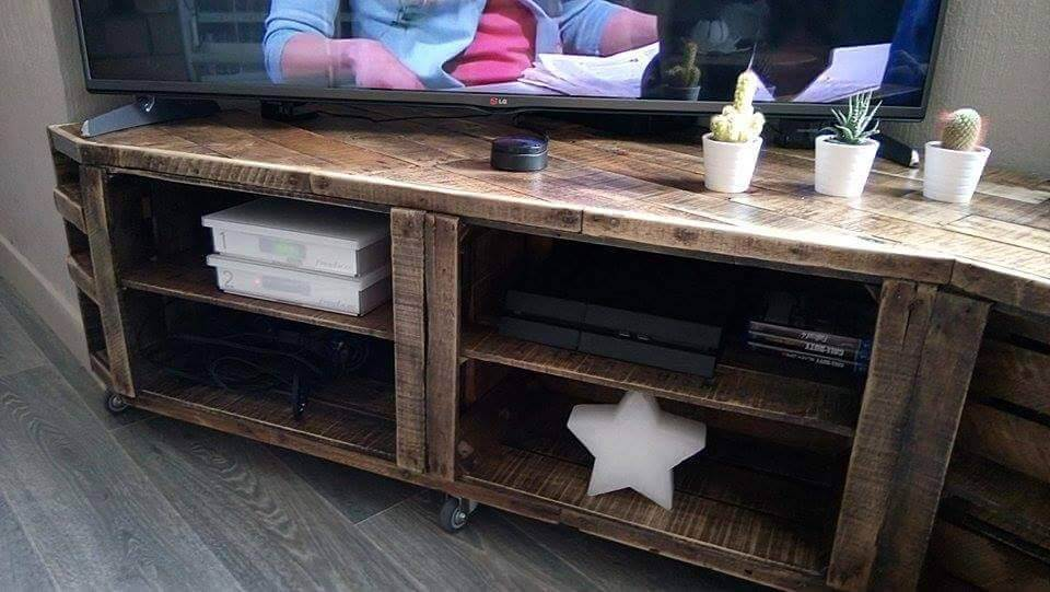 sturdy wooden pallet TV console with storage