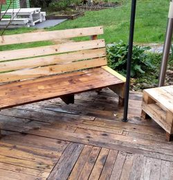 pallet bench with small chair