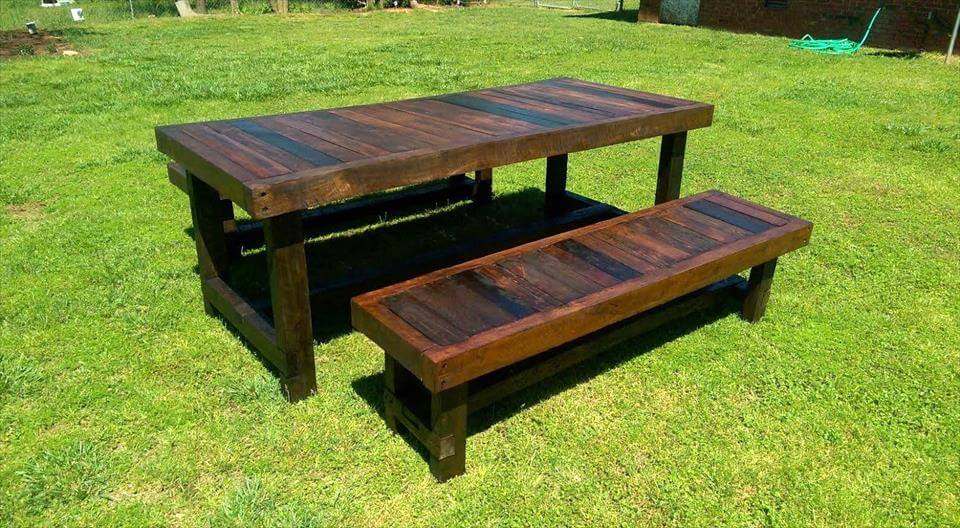 recycled pallet large table with matching benches