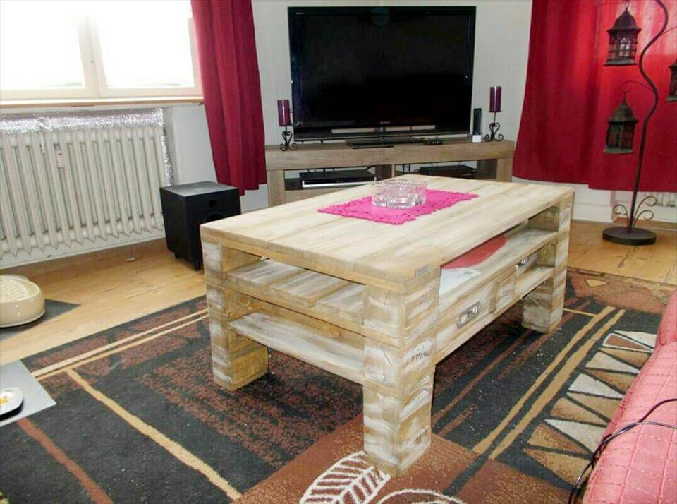 Diy pallet living room coffee table pallet furniture diy