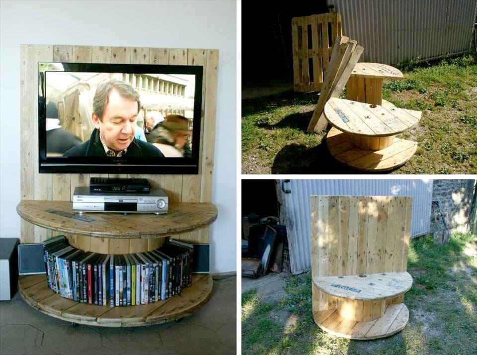 pallet and half cut spool entertainment center