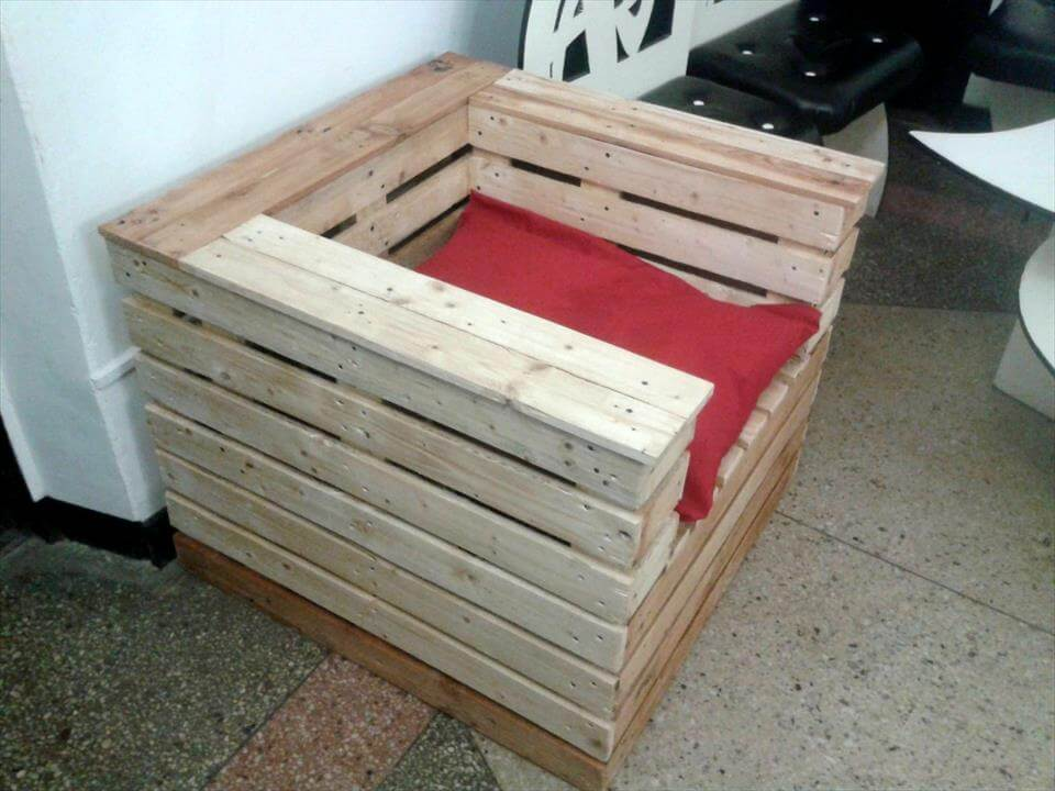 custom block style pallet chair with red cushion