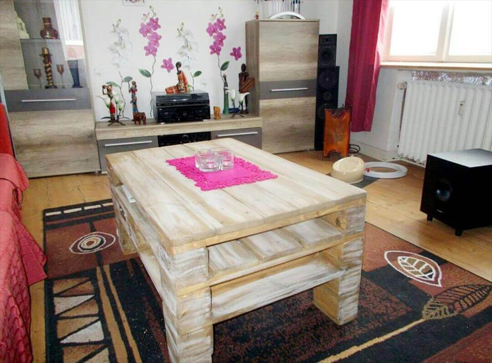 upcycled pallet coffee table with inside shelving and drawer space
