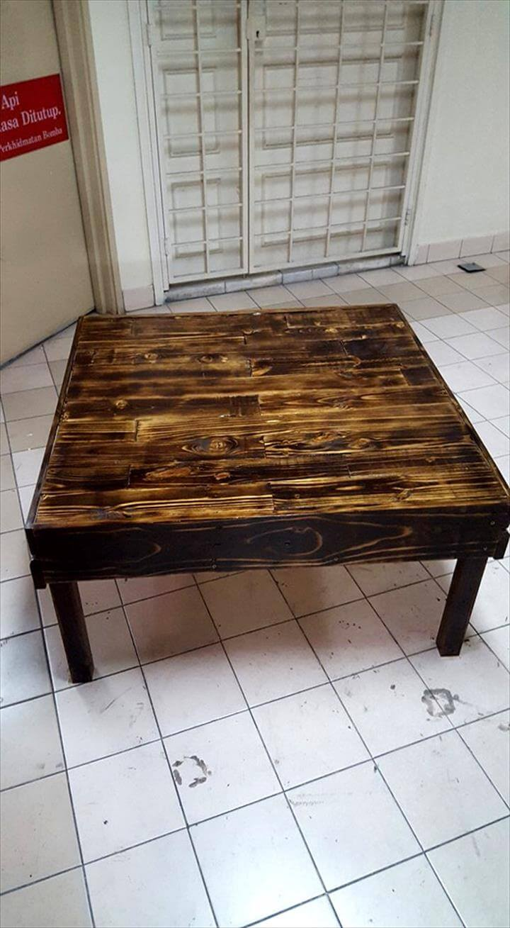 Pallet coffee table with sliding drawers pallet for Diy coffee table with drawers