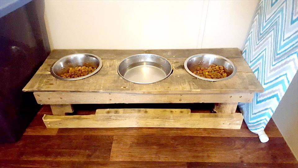 handcrafted pallet dog bowls