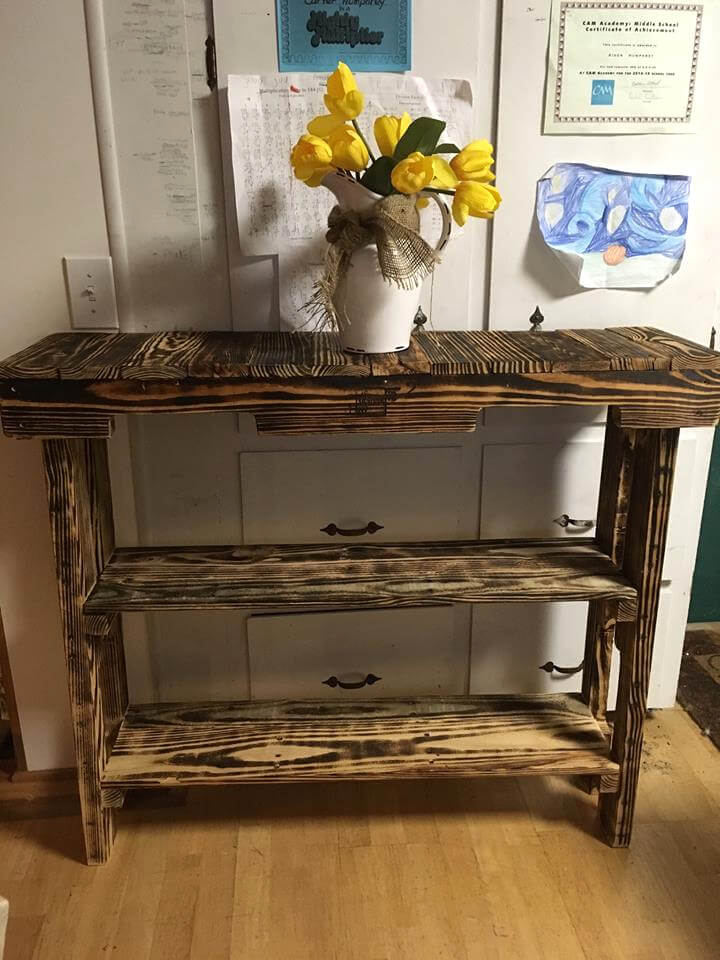 rustic pallet hallway or entry console